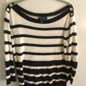 Lauren cream/brown striped cotton sweater, size L.